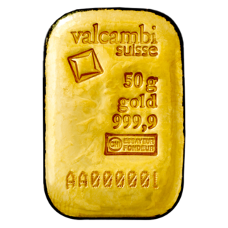 50g Gold Bar | Casted | Valcambi(Front)