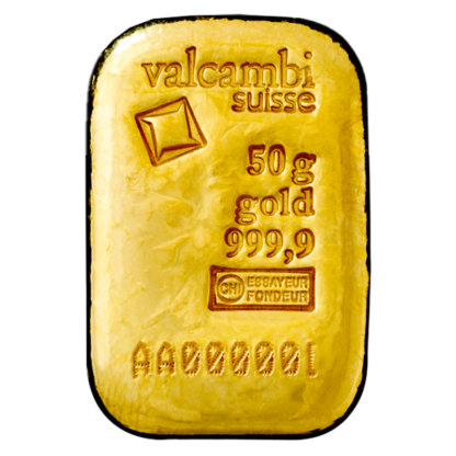 50g Gold Bar   Casted   Valcambi(Front)