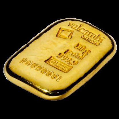 50g Gold Bar   Casted   Valcambi(Back)