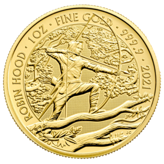 1 oz Robin Hood Gold Coin (2021)(Front)