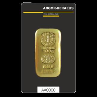 100g Gold Bar | Argor Heraeus | casted(Front)