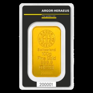 100g Gold Bar | Argor Heraeus | Minted(Front)