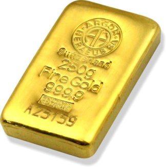 250g Gold Bar | Argor Heraeus | Casted(Front)