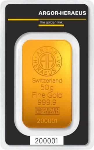 50g Gold Bar | Argor Heraeus(Front)