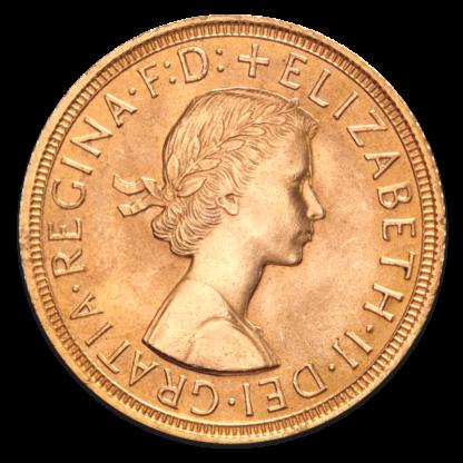 Full Sovereign Elizabeth, Gold, 1957- present(Front)